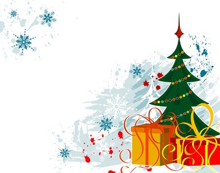 Grunge background di Natale con albero, elemento per la progettazione, illustrazione vettoriale