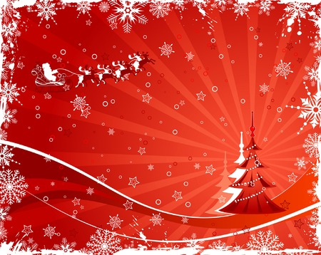 Grunge Christmas background with tree and Santa, element for design, vector illustration Vector