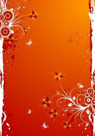 Grunge floral frame with butterfly, element for design, vector illustration Vector