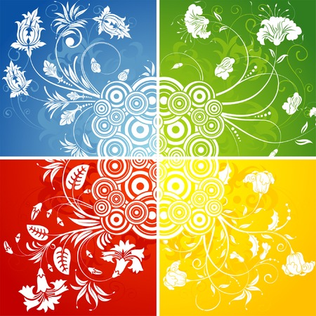 Four floral background with circle, element for design, vector illustration Vector