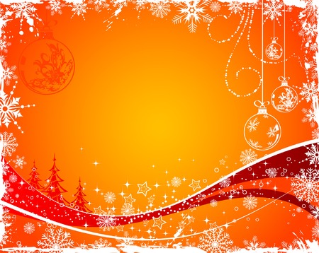 Grunge Christmas background with tree and sphere, element for design, vector illustration Stock Vector - 3581328