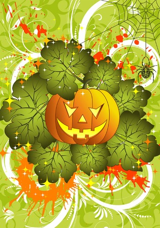 Grunge Halloween background with pumpkin and spider, element for design, vector illustration Vector