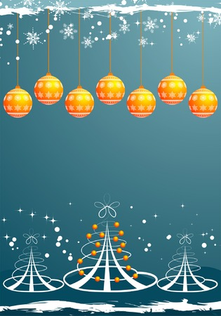 Grunge Christmas background with tree and sphere, element for design, vector illustration Vector