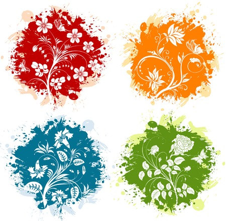 Four grunge floral background with butterfly, element for design, vector illustration Vector