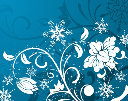 Floral background with snowflake, element for design, vector illustration Vector