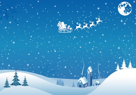 rotwild: Christmas Background with Baum, Santa, Haus, Element f�r Design, Vector illustration
