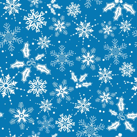 Christmas seamless background with snowflake, mistletoe, element for design, vector illustration Stock Vector - 3844765
