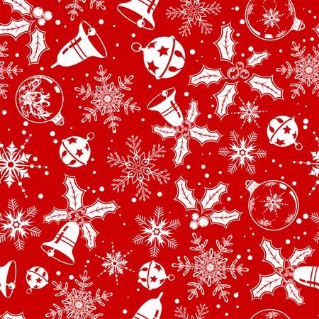 Christmas seamless background with snowflake, mistletoe, bell, element for design, vector illustration Vector