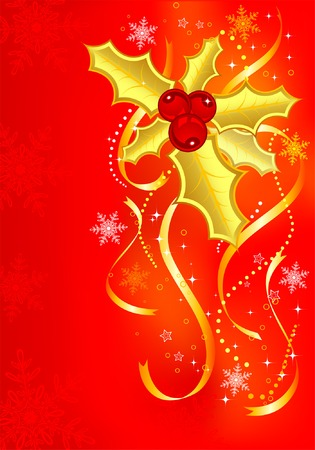 Christmas background with mistletoe, element for design, vector illustration Stock Vector - 3856668