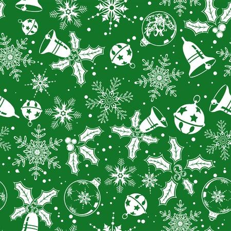 iteration: Christmas background senza soluzione di continuit� con il fiocco di neve, vischio, campana, elemento per la progettazione, illustrazione vettoriale