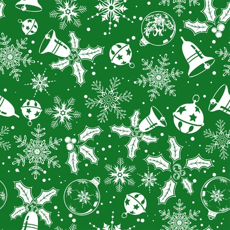 Christmas seamless background with snowflake, mistletoe, bell, element for design, vector illustration Vector