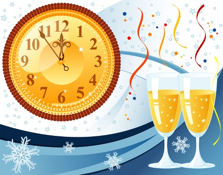 lacet: New Year Background with snowflake, clock, glass, element for design, vector illustration
