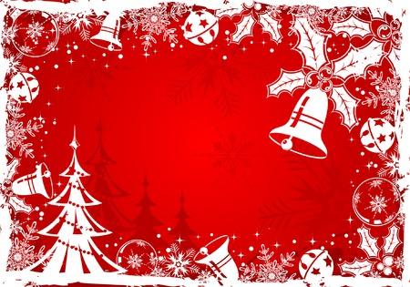 Christmas grunge frame with snowflake, mistletoe, bell, element for design, vector illustration Vector