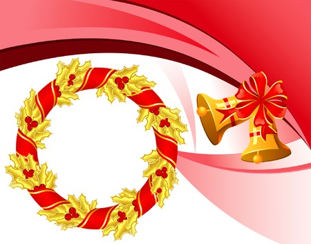 Christmas theme with mistletoe, bell and wreath, element for design, vector illustration Vector