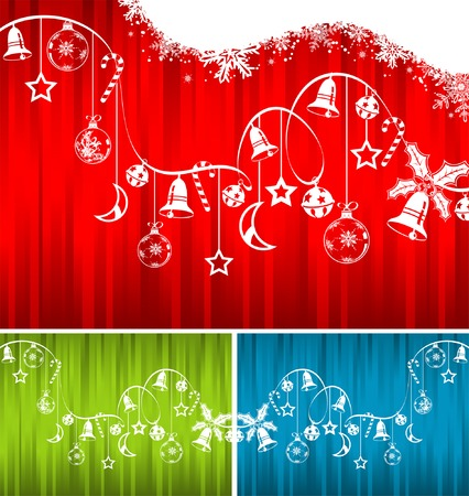Christmas background with snowflakes, bell, candy and wave pattern, element for design, vector illustration Stock Vector - 3895100