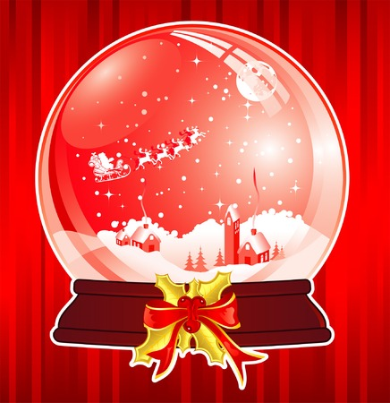 Christmas Background with snow globe, element for design, vector illustration Vector