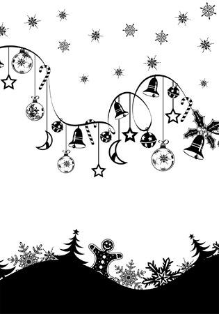 Christmas background with snowflakes, bell, cake, candy and wave pattern, element for design, vector illustration Stock Vector - 3895080