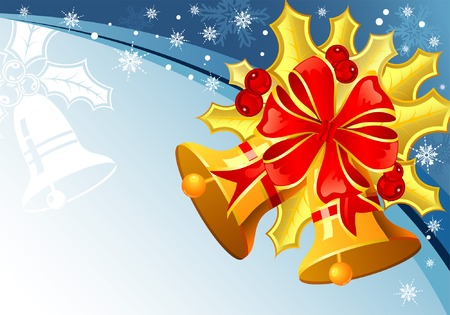 Christmas background with mistletoe, bell and snowflake, element for design, vector illustration Vector
