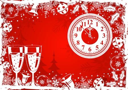 Christmas grunge frame with snowflake, mistletoe, bell, clock, element for design, vector illustration Stock Vector - 3895101