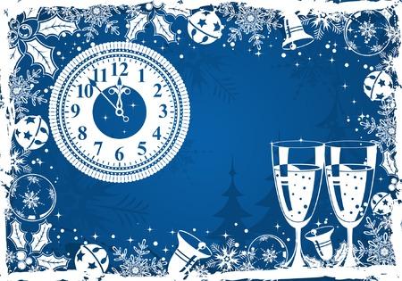 Christmas grunge frame with snowflake, mistletoe, bell, element for design, vector illustration Stock Vector - 3895097