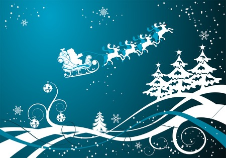 Christmas background with tree and Santa, element for design, vector illustration Vector
