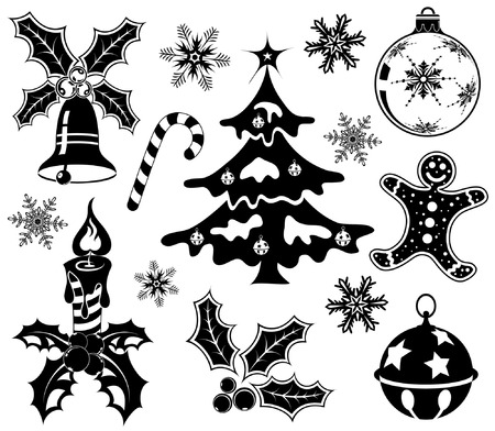 collect: Collect Christmas element with bell, cake, candy, tree, element for design, vector illustration Illustration