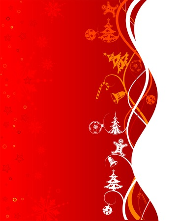 Christmas background with tree and wave pattern, element for design, vector illustration Vector