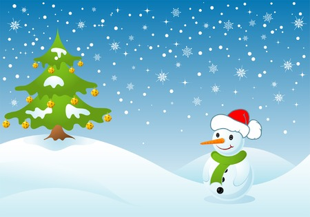 Christmas background with tree and snowman, vector illustration Vector