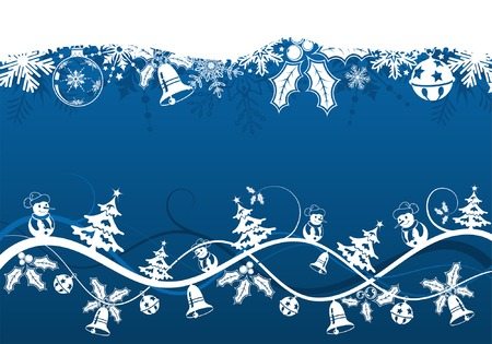 Christmas background with tree and snowman, element for design, vector illustration Vector