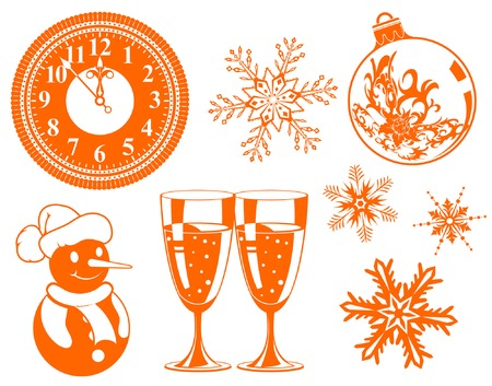 Collect Christmas element with bauble, clock, glass, snowman, element for design, vector illustration Vector