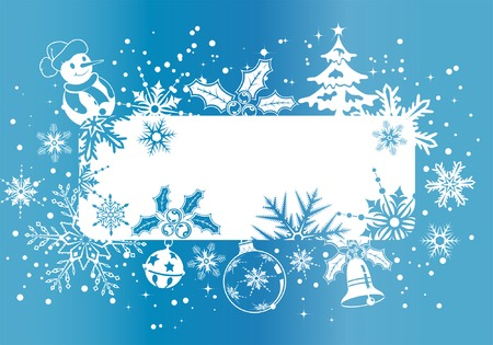 Christmas frame with snowflakes and decoration element, vector illustration Vector