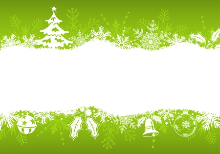 Christmas frame with tree, snowflakes and decoration element, vector illustration Illustration