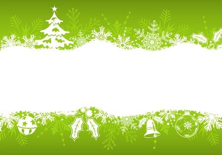 Telaio di Natale con elemento albero, fiocchi di neve e decorazione, illustrazione vettoriale