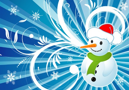 Floral background with snowman, element for design, vector illustration Vector