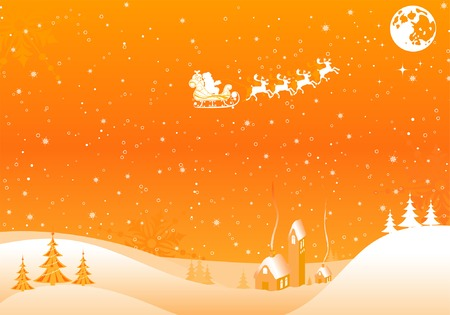 Christmas background with tree, Santa, house, element for design, vector illustration Vector
