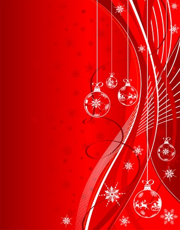 Christmas background with snowflakes, baubles and wave pattern, element for design, vector illustration Vector