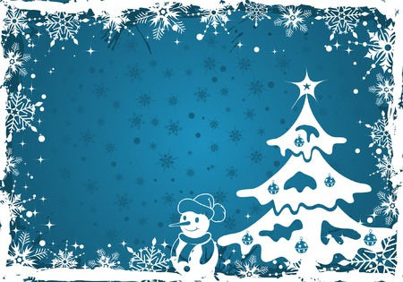 Grunge Christmas frame with snowflakes, element for design, vector illustration Vector