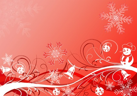 Christmas background with snowflake and decoration element, vector illustration Vector