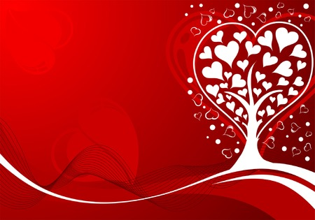 vector waves: Valentines Day background with Hearts, tree and wave pattern, element for design, vector illustration Illustration