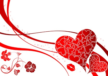 Valentines Day background with Hearts and wave pattern, element for design, vector illustration Stock Vector - 4159100