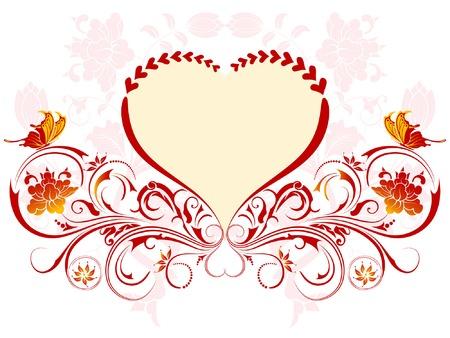 drawing heart: Saint Valentin sur fond Hearts et motif floral, �l�ment de design, illustration vectorielle Illustration