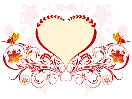 Valentines Day background with Hearts and floral pattern, element for design, vector illustration