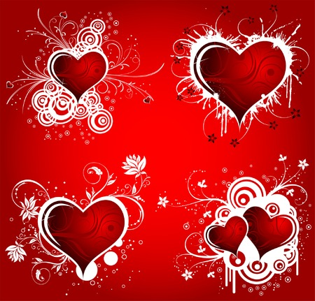 Collect Valentines Day background with Hearts and floral pattern, element for design, vector illustration Stock Vector - 4268043