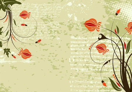 Grunge Floral Background, element for design, vector illustration Stock Vector - 4342210