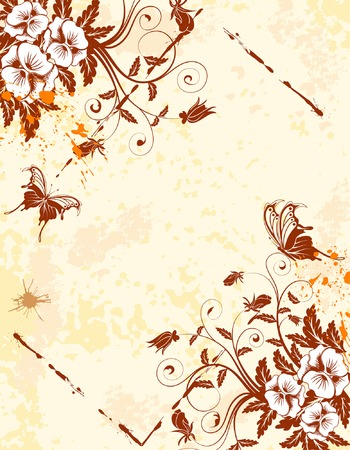 Grunge Floral Background with butterfly and frame, element for design, vector illustration Stock Vector - 4342211