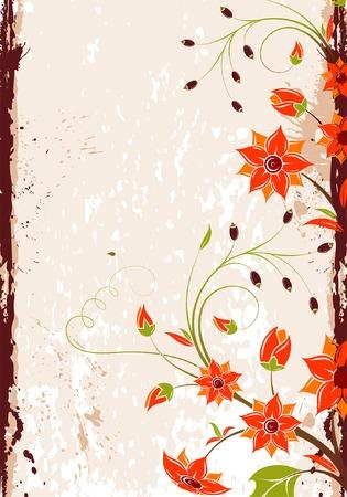 Grunge Floral Background, element for design, vector illustration Stock Vector - 4342208