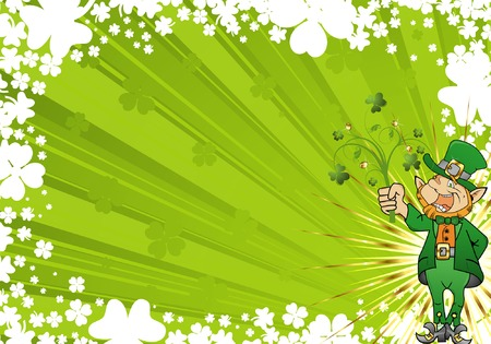 St. Patricks Day frame with clover and leprechaun Vector