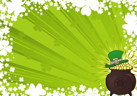 patrick: St. Patricks Day frame with hat and cauldron Illustration