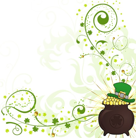 St. Patricks Day floral frame with hat and cauldron Vector