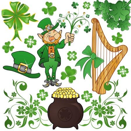 arpa: St. Patrick's Day conjunto con tr�bol, duende y caldero